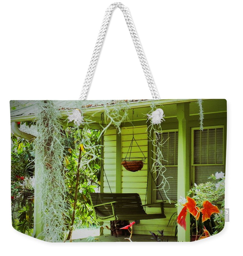 Porch Swing Weekender Tote Bag featuring the photograph Come Sit Awhile by Patricia Greer