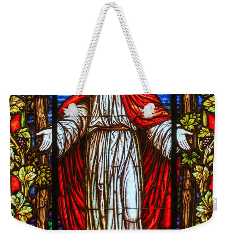 Stained Glass Window Weekender Tote Bag featuring the photograph Come Unto Me by Larry Ward