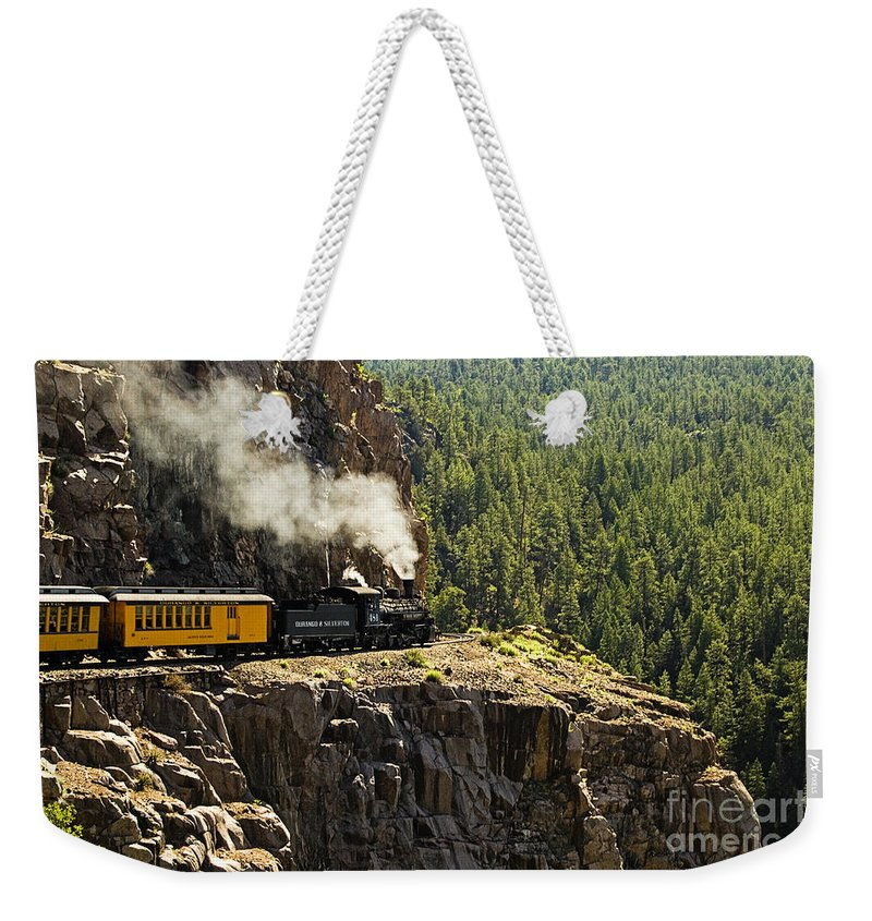 Train Weekender Tote Bag featuring the photograph Coming Around The Bend by Scott Pellegrin
