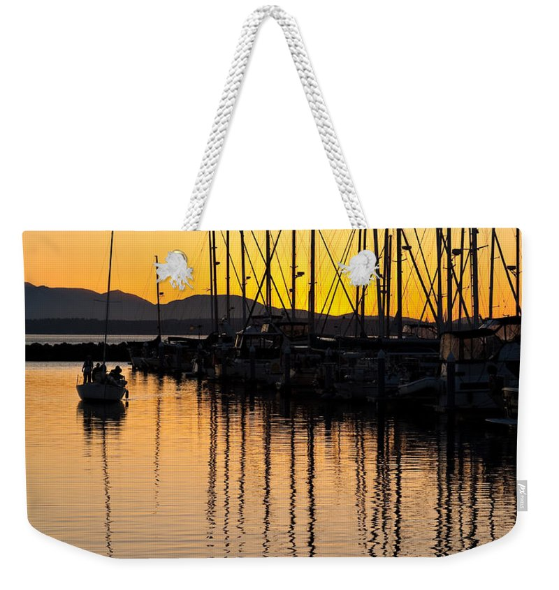 Sailboat Weekender Tote Bag featuring the photograph Coming In by Mike Reid