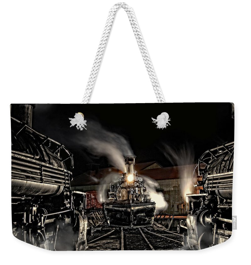 Steam Train Photographs Weekender Tote Bag featuring the photograph Coming In Tonight by Ken Smith