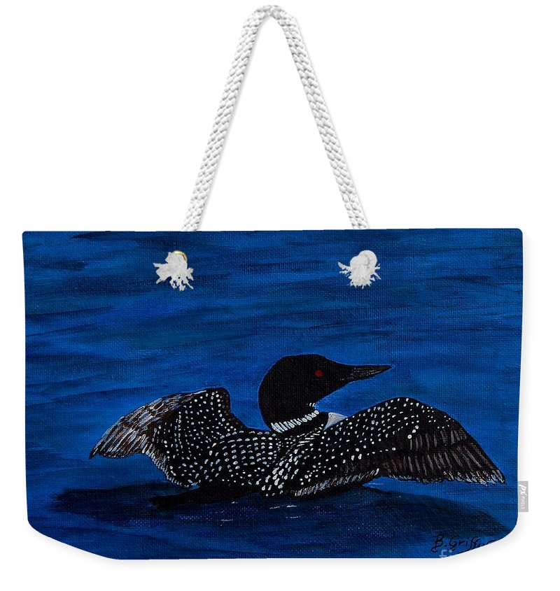 Barbara Griffin Weekender Tote Bag featuring the painting Common Loon Preening by Barbara Griffin