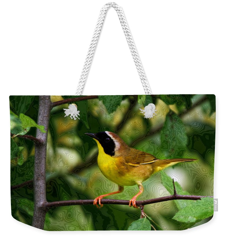 Avian Weekender Tote Bag featuring the photograph Common Yellowthroat Warbler by John Absher