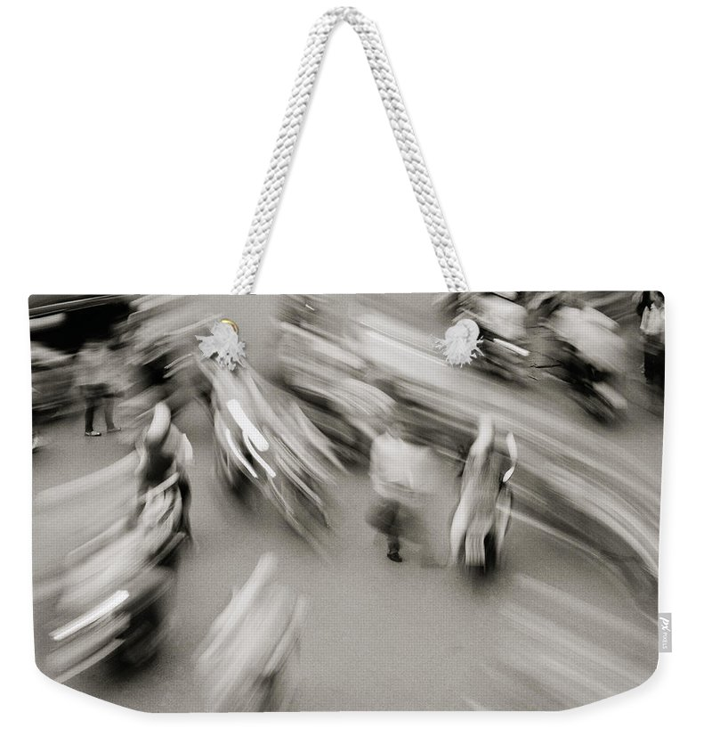 Black And White Weekender Tote Bag featuring the photograph Urban Swirl by Shaun Higson