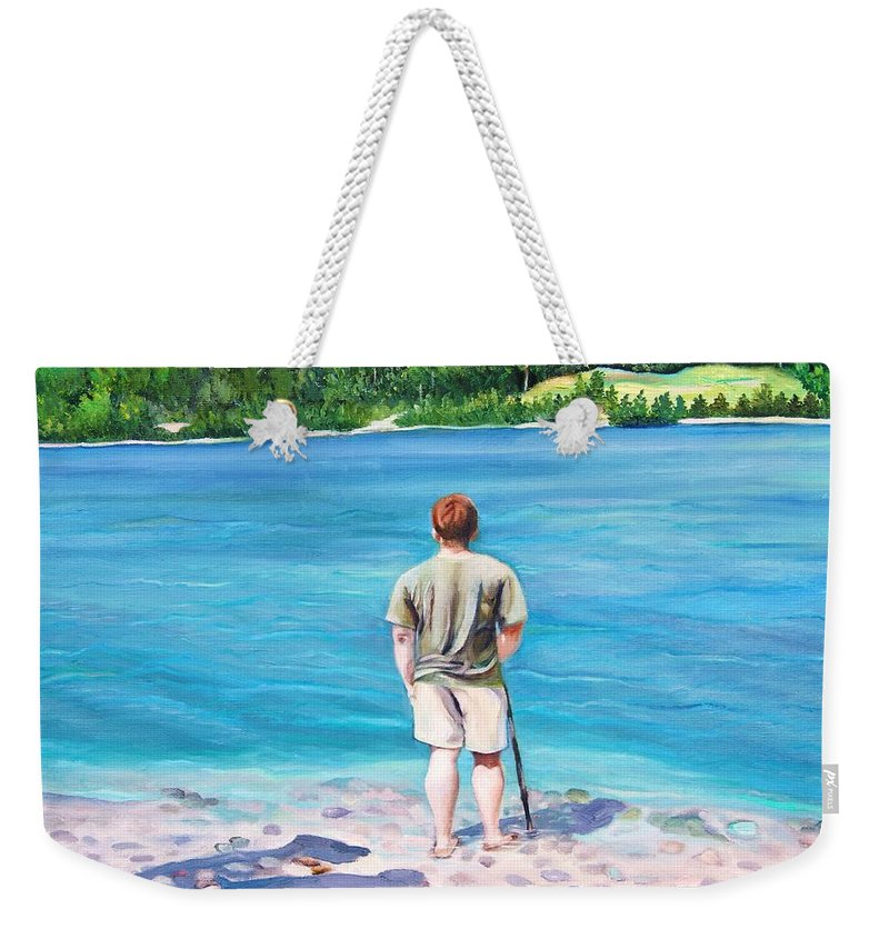 Nature Weekender Tote Bag featuring the painting Communicating With Nature by Misuk Jenkins