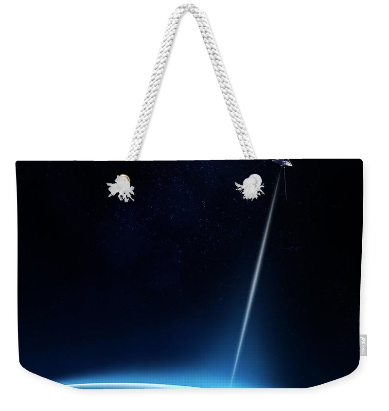 Atmosphere Weekender Tote Bag featuring the photograph Communication Between Satellite And Earth by Johan Swanepoel