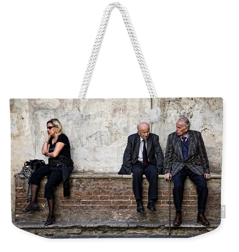 Street Photography Weekender Tote Bag featuring the photograph Communication by Dave Bowman
