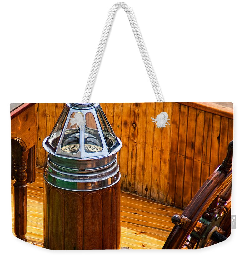 Adventure Weekender Tote Bag featuring the photograph Compass And Bright Work Old Sailboat by Bob Orsillo