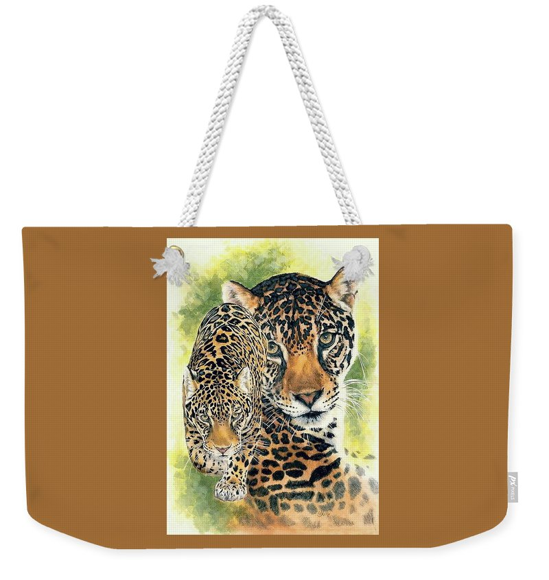 Jaguar Weekender Tote Bag featuring the mixed media Compelling by Barbara Keith