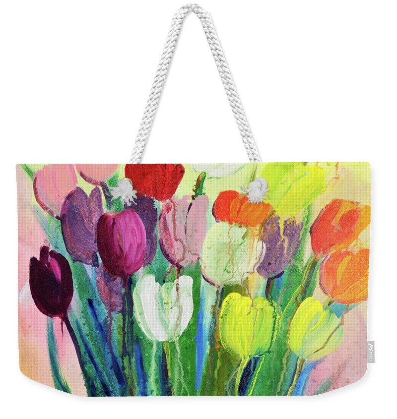 Art Weekender Tote Bag featuring the digital art Composition Of Flowers by Balticboy