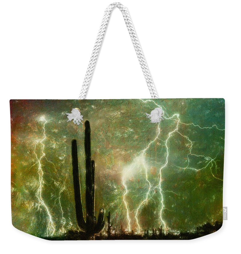 Bright Weekender Tote Bag featuring the painting Computer Generated Image Of Lightening by Angela A Stanton