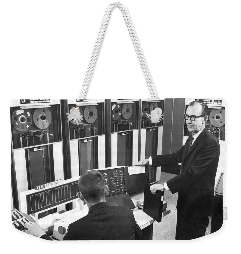 1960's Weekender Tote Bag featuring the photograph Computers Used At Gmc by Underwood Archives
