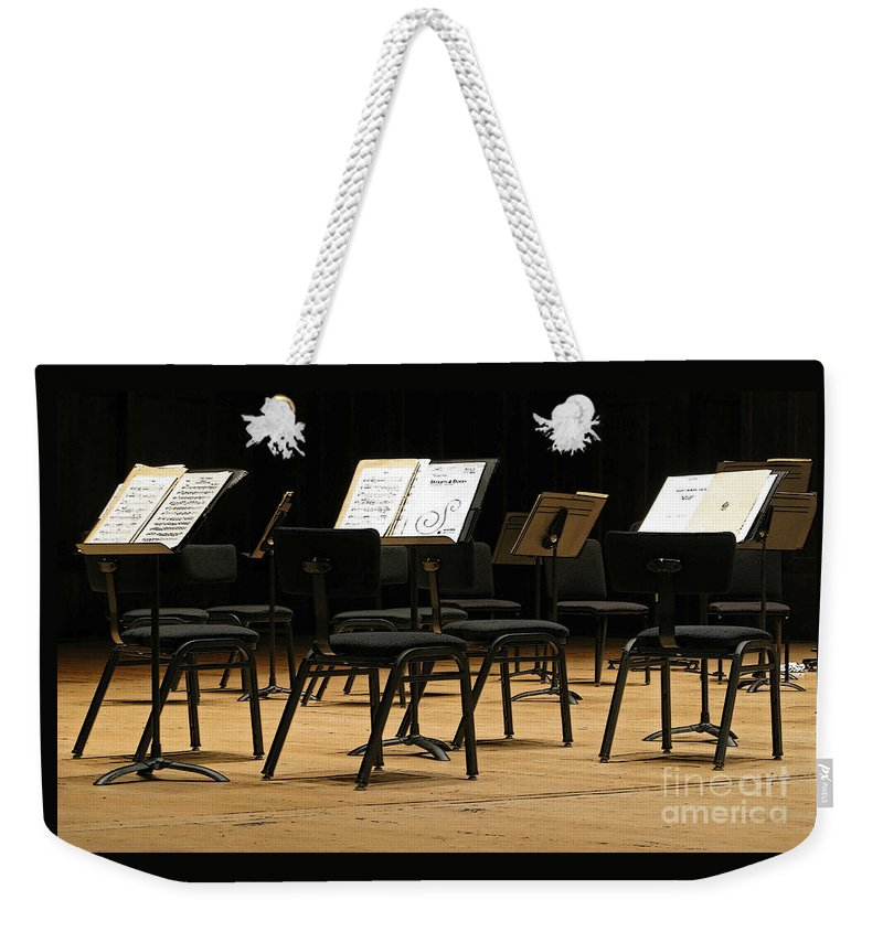 Intermission Weekender Tote Bag featuring the photograph Concert Time Out by Ann Horn