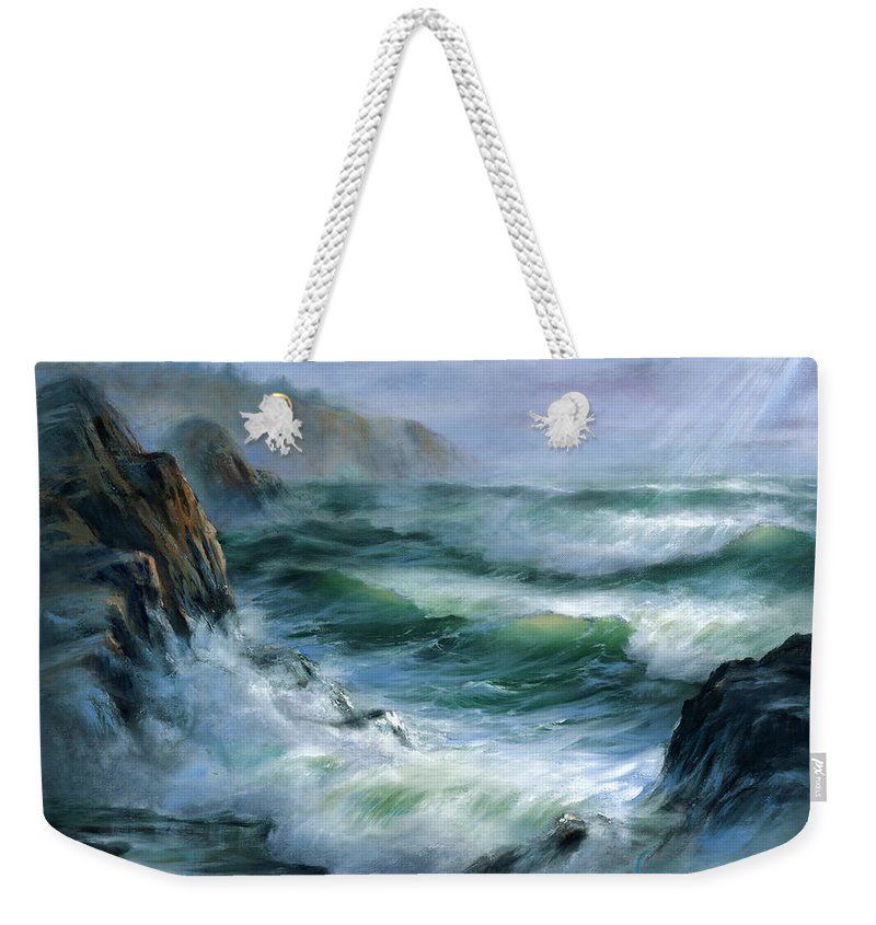 Transparent Wave Weekender Tote Bag featuring the painting Concerto by Sharon Abbott-Furze