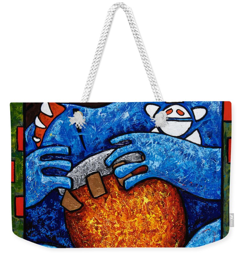 Puerto Rico Weekender Tote Bag featuring the painting Conga On Fire by Oscar Ortiz