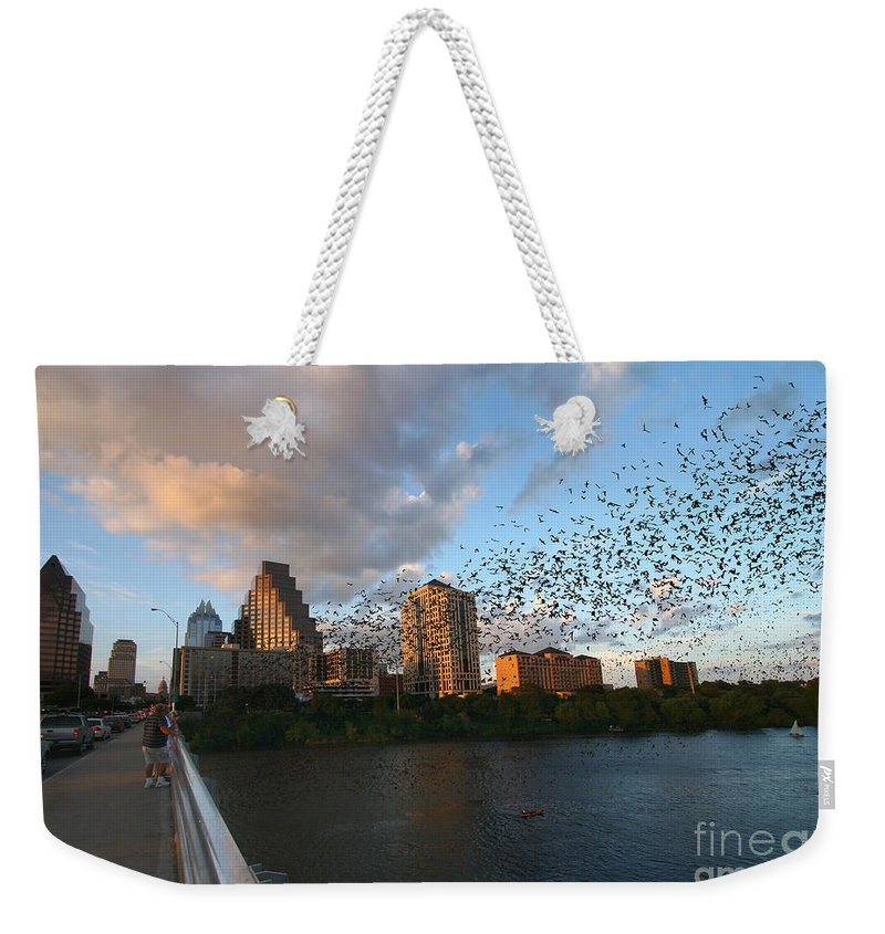 Mexican Freetail Bats Weekender Tote Bag featuring the photograph Congress Avenue Bats by Randy Smith