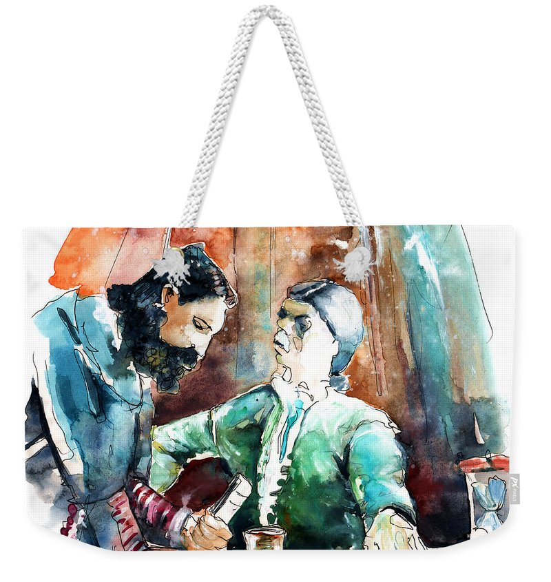 Portugal Weekender Tote Bag featuring the painting Conquistadores On The Boat In Vila Do Conde In Portugal by Miki De Goodaboom