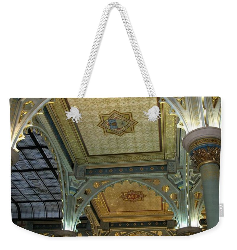Conservatory Weekender Tote Bag featuring the photograph Conservatory Illuminated Ceiling by Ian Mcadie