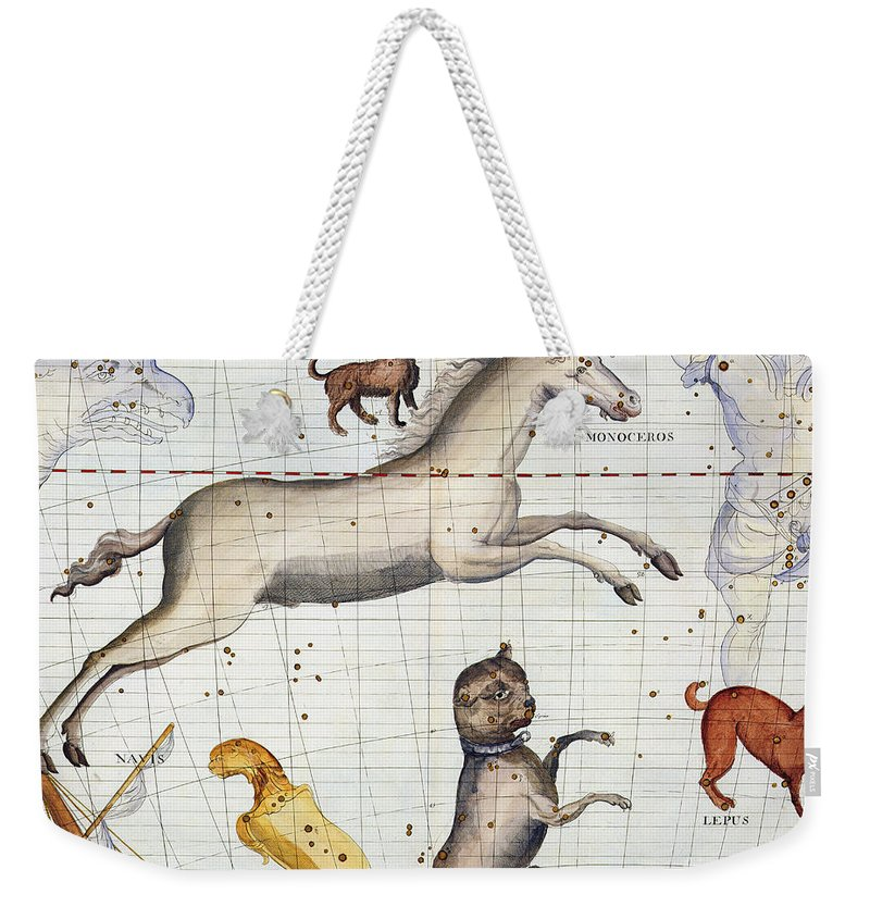Map Weekender Tote Bag featuring the painting Constellation of Monoceros with Canis Major and Minor by Sir James Thornhill