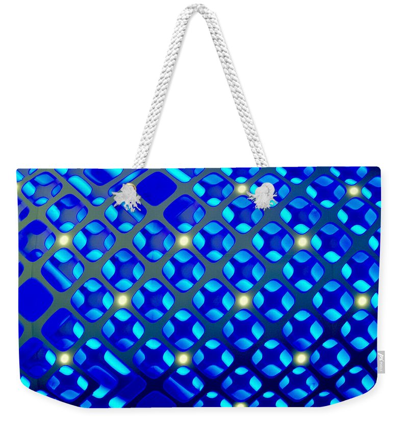 Bright Blue Abstract Weekender Tote Bag featuring the digital art Constellation by Pamela Smale Williams