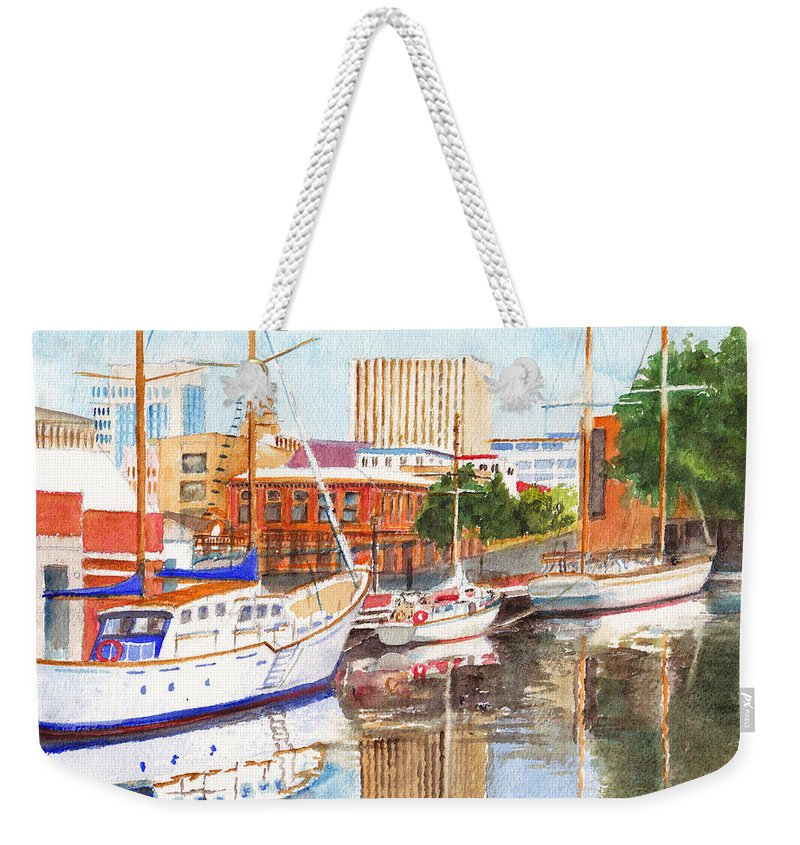 Wharf Weekender Tote Bag featuring the painting Constitution Dock In Hobart Tasmania by Dai Wynn