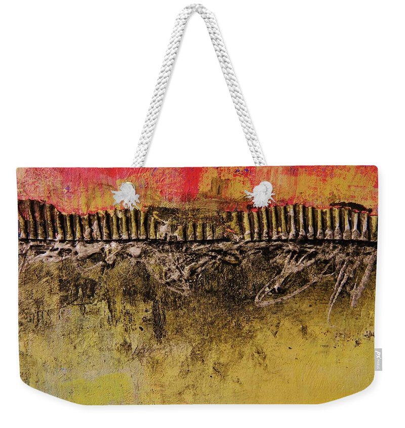 Abstract Weekender Tote Bag featuring the painting Construction by Kate Marion Lapierre