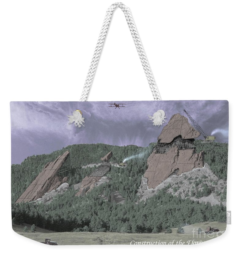 Boulder Weekender Tote Bag featuring the photograph Construction Of The Flatirons - 1931 by Jerry McElroy