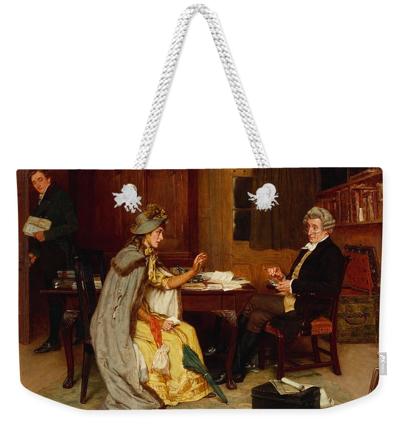 Female; Victorian; Interior; Office; Wig; Spectacles; Glasses; Seated; Male; Consultation Weekender Tote Bag featuring the painting Consulting Her Lawyer by Frank Dadd