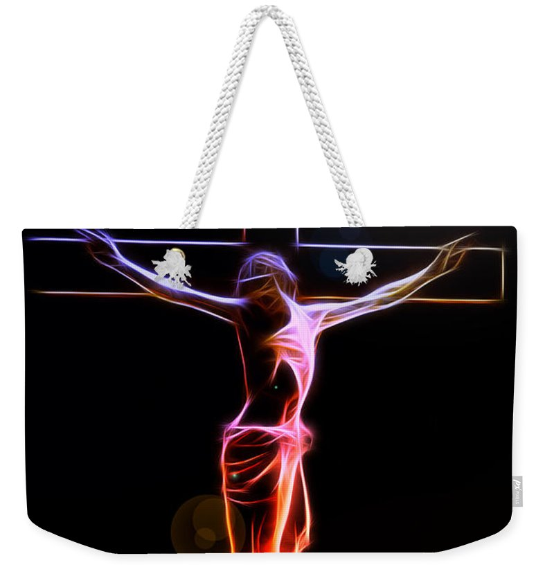 Crucified Jesus Life Faith Believe Christian Church Cross Forgiveness Resurrection Bible Eternity Glow Glowing Abstract Digital Painting Expressionism Impressionism Sin Father Holy Spirit God Maria Stigmata Crown Thorn Thorns Suffering Death Consummatum Est Weekender Tote Bag featuring the digital art Consummatum Est by Steve K