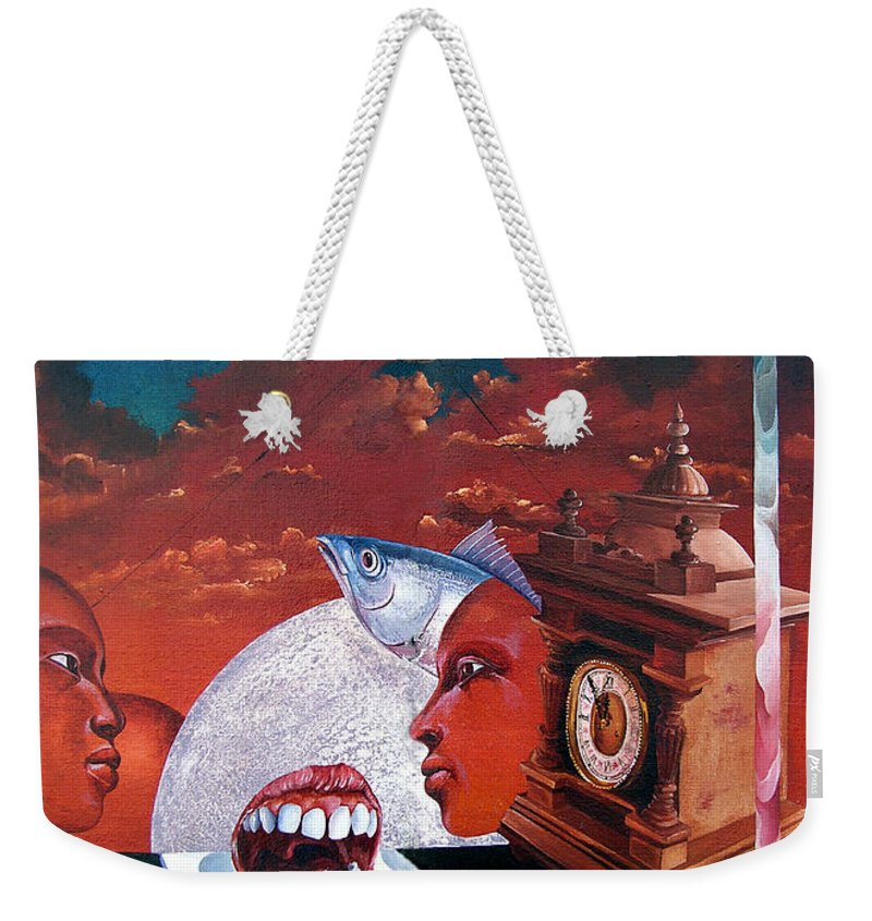 Otto+rapp Surrealism Surreal Fantasy Time Clocks Watch Consumption Weekender Tote Bag featuring the painting Consumption Of Time by Otto Rapp