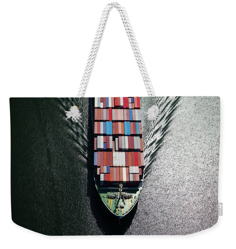 Freight Transportation Weekender Tote Bag featuring the photograph Container Ship Bow by Dan prat