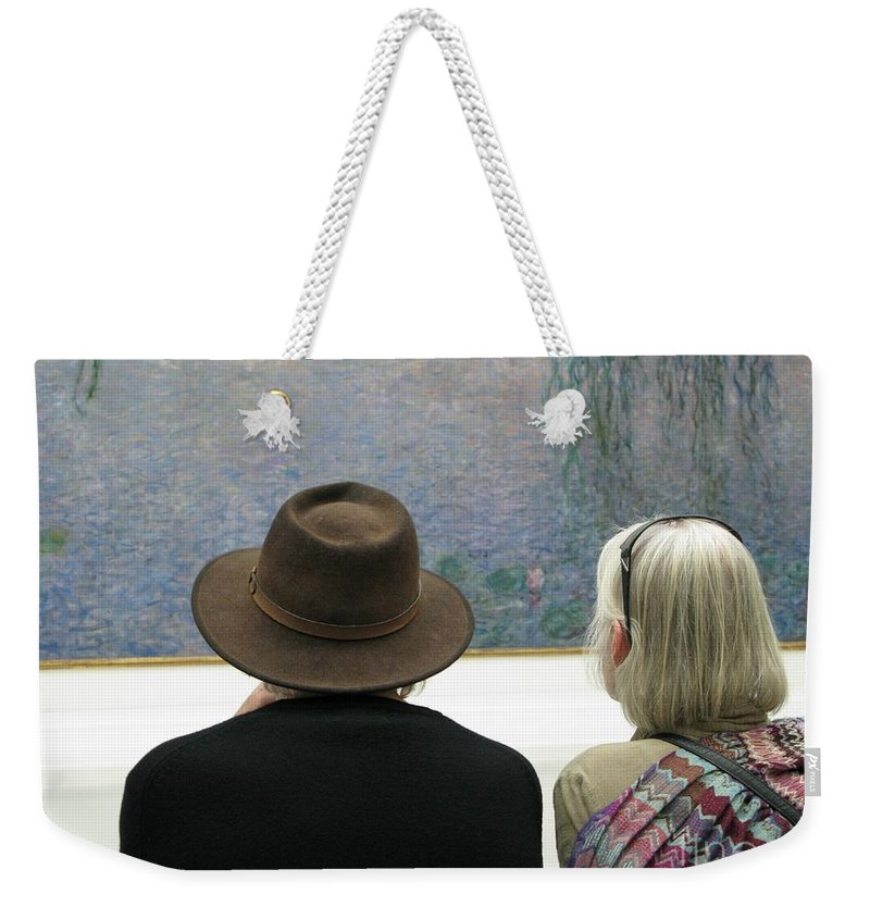 People Weekender Tote Bag featuring the photograph Contemplating Art by Ann Horn