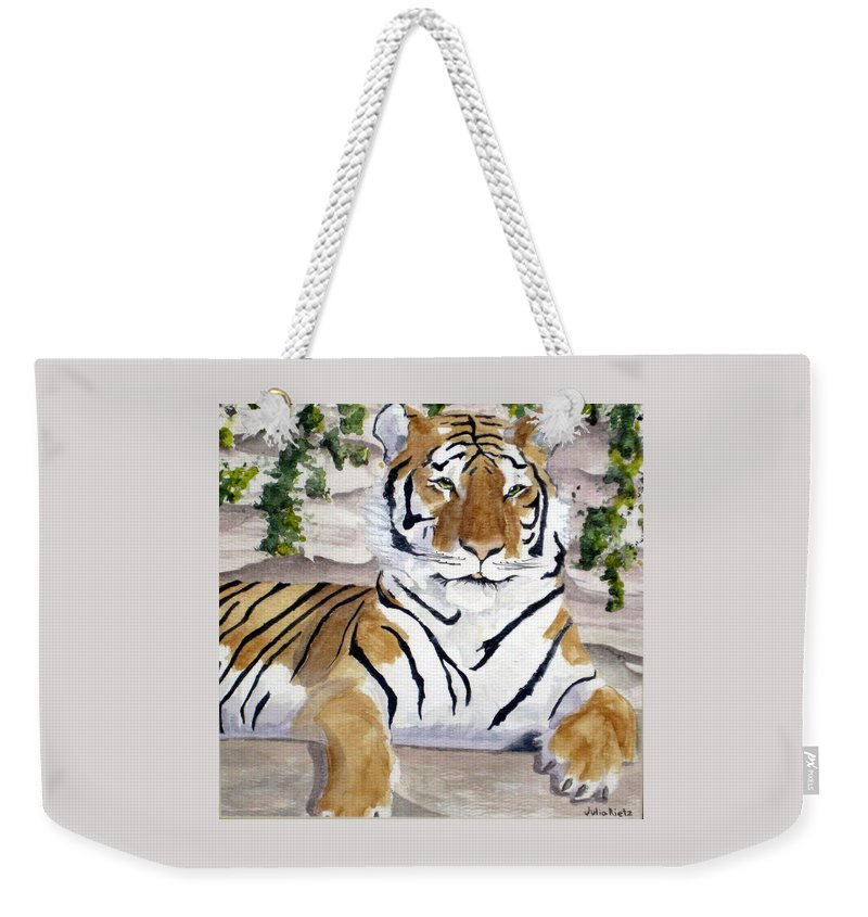 Tiger Weekender Tote Bag featuring the painting Contemplating Dinner by Julia RIETZ