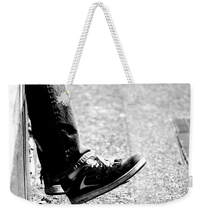 Feet Weekender Tote Bag featuring the photograph Contemplating Steps by The Artist Project