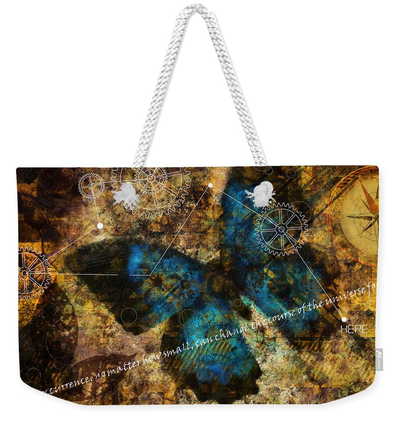 Science. Theory Weekender Tote Bag featuring the digital art Contemplating The Butterfly Effect by Nola Lee Kelsey