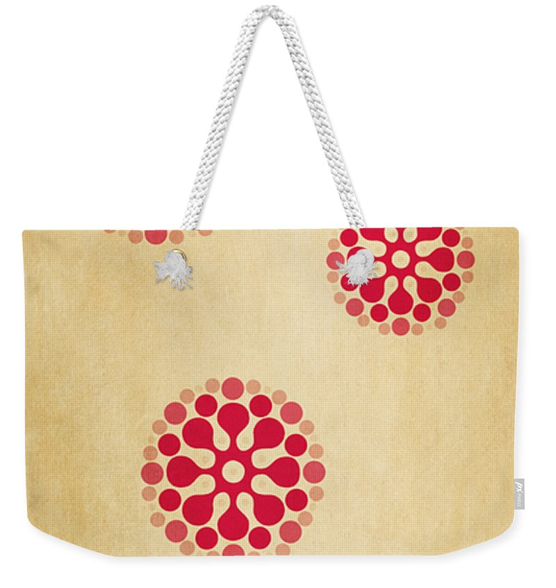 Contemporary Weekender Tote Bag featuring the mixed media Contemporary Dandelions 1 Part 1 Of 3 by Angelina Vick