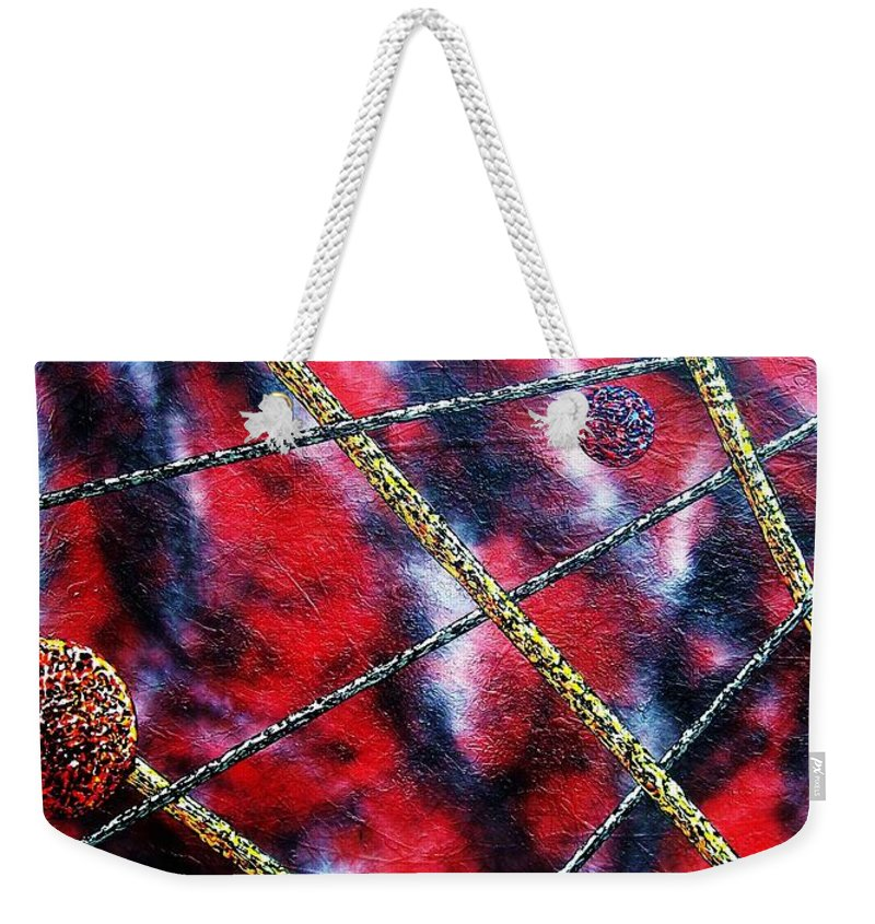 Abstract Weekender Tote Bag featuring the painting Continuum IV red sky by Micah Guenther
