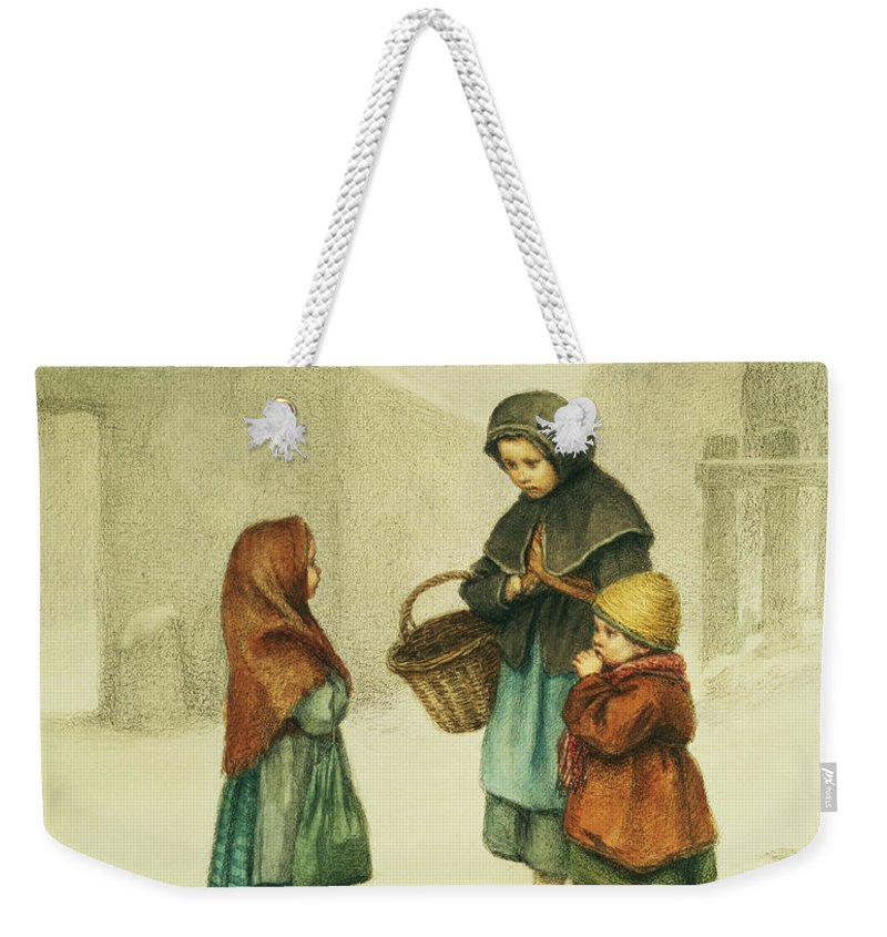 Basket Weekender Tote Bag featuring the painting Conversation In The Snow by Pierre Edouard Frere