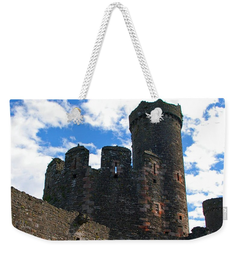 Conwy Weekender Tote Bag featuring the photograph Conwy Castle by Nancy L Marshall
