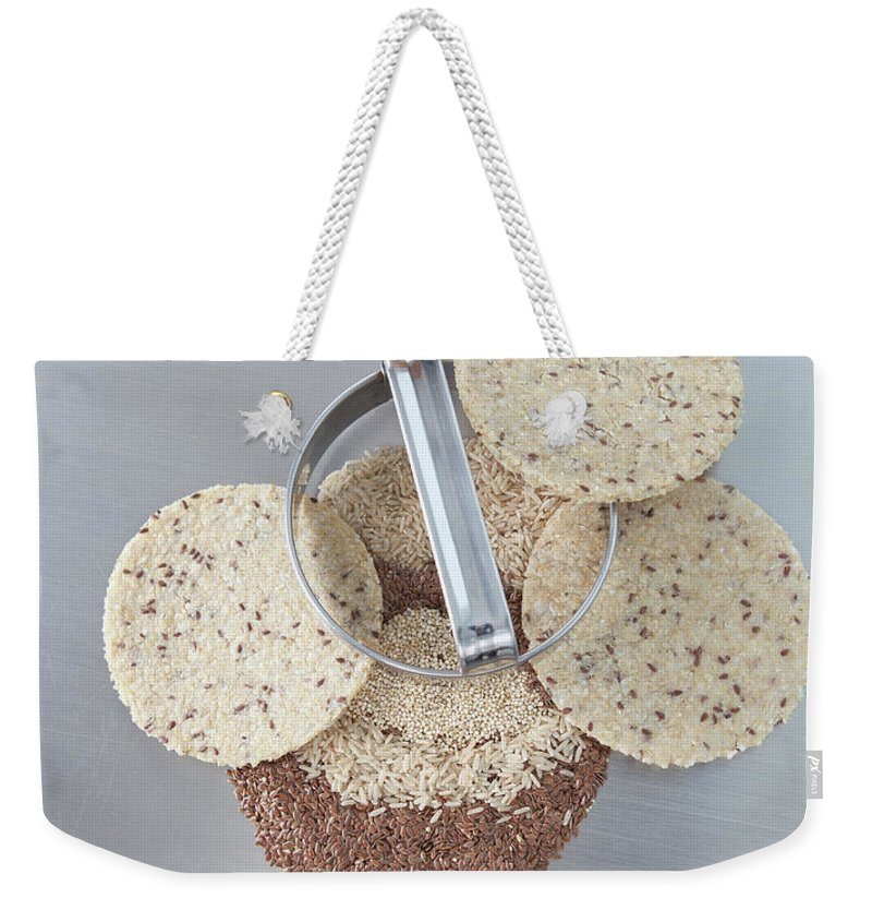 Flax Seed Weekender Tote Bag featuring the photograph Cookie Cutter With Dough Rounds by Laurie Castelli