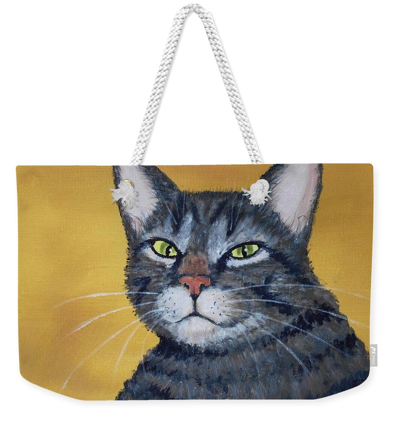 Malakhova Weekender Tote Bag featuring the painting Cool Cat by Anastasiya Malakhova
