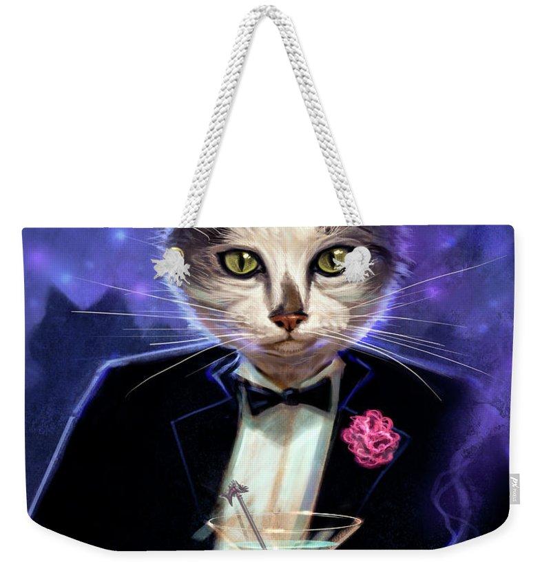 Jeff Haynie Weekender Tote Bag featuring the painting Cool cat by Jeff Haynie