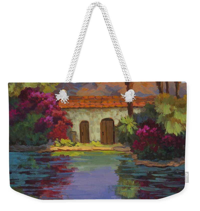 Desert Weekender Tote Bag featuring the painting Cool Waters 2 by Diane McClary