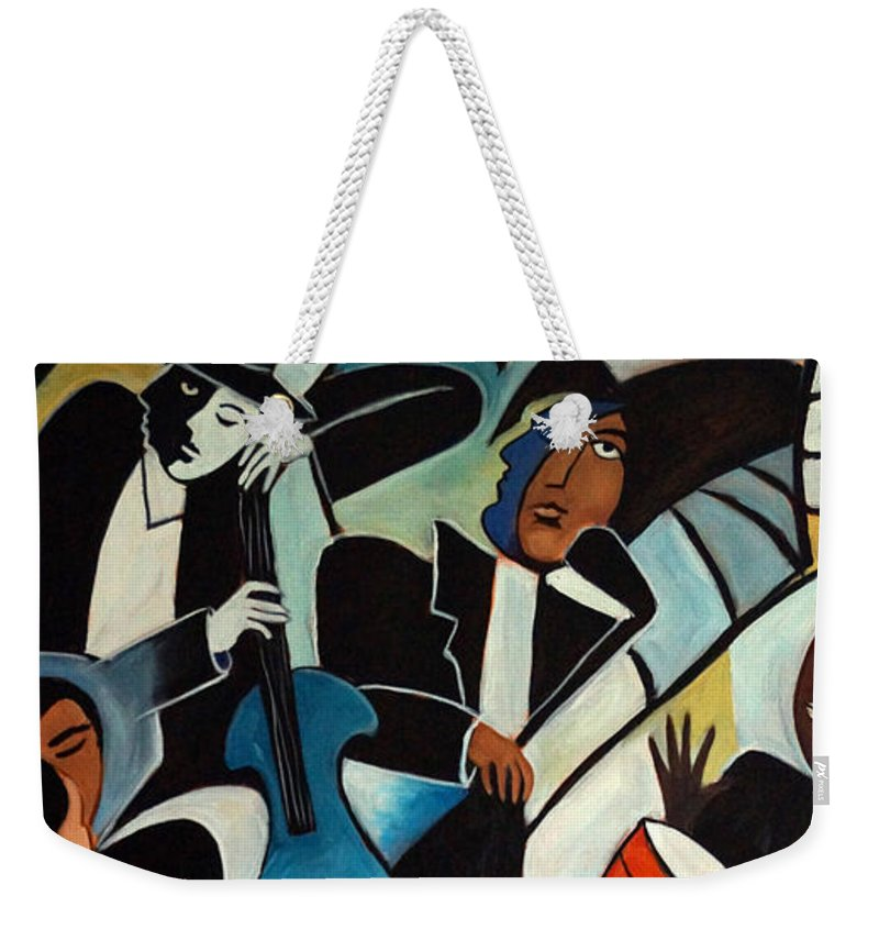 Cubist Weekender Tote Bag featuring the painting Copacabana by Valerie Vescovi