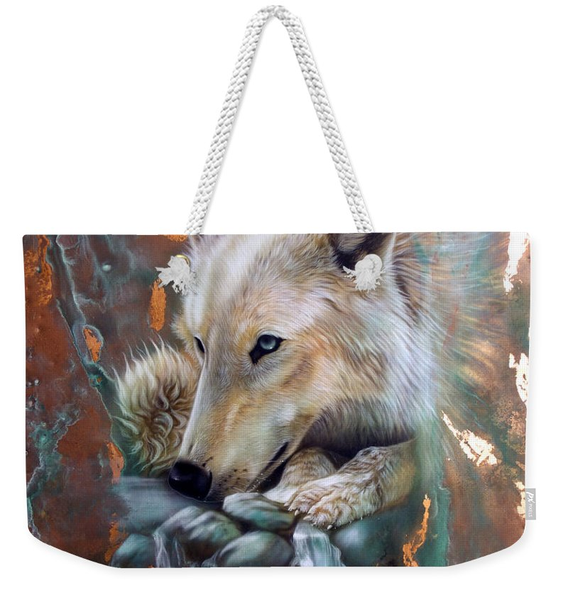 Copper Weekender Tote Bag featuring the painting Copper Arctic Wolf by Sandi Baker