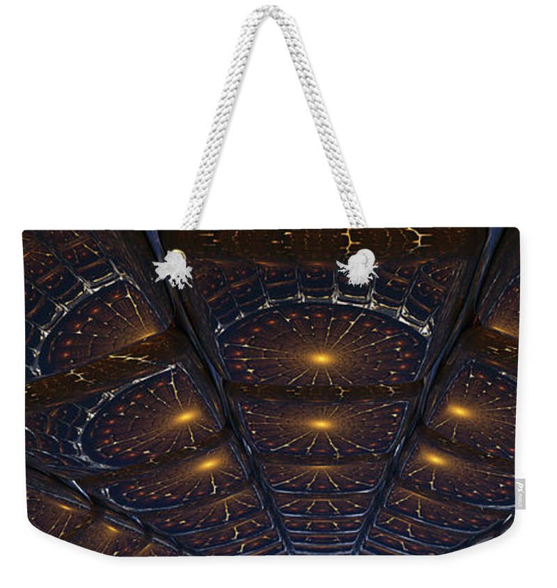 Abstract Weekender Tote Bag featuring the digital art Copper Cathedral by James Kramer