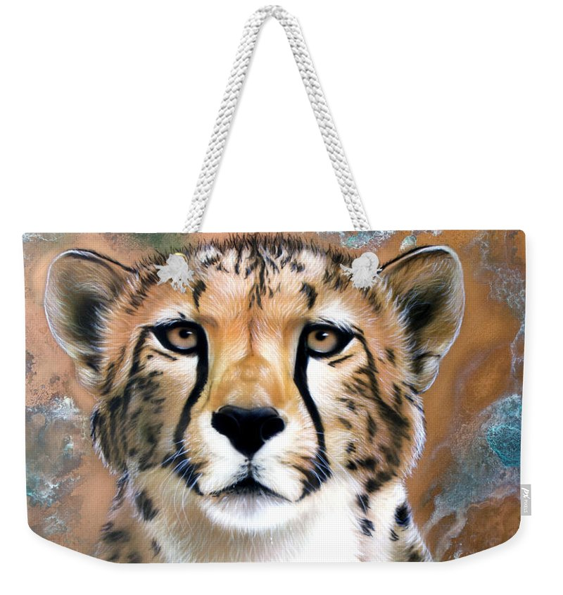 Copper Weekender Tote Bag featuring the painting Copper Flash - Cheetah by Sandi Baker