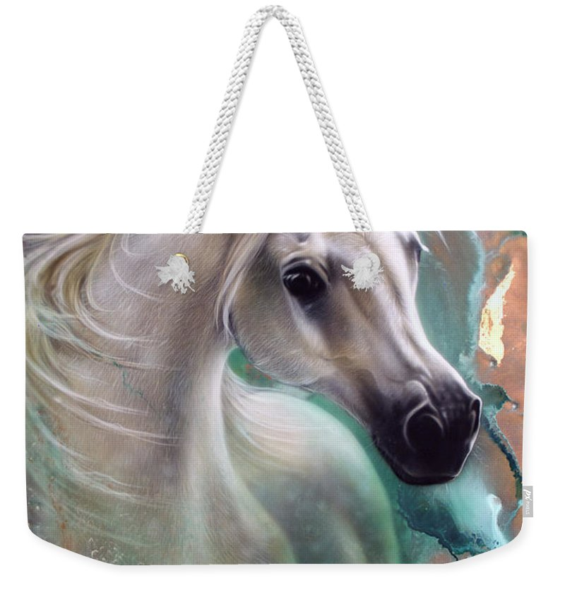 Copper Weekender Tote Bag featuring the painting Copper Grace - Horse by Sandi Baker