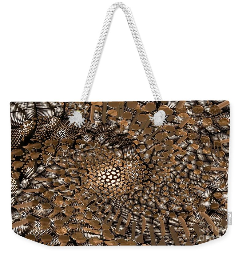 Abstract Weekender Tote Bag featuring the digital art Copper Head by Ron Bissett