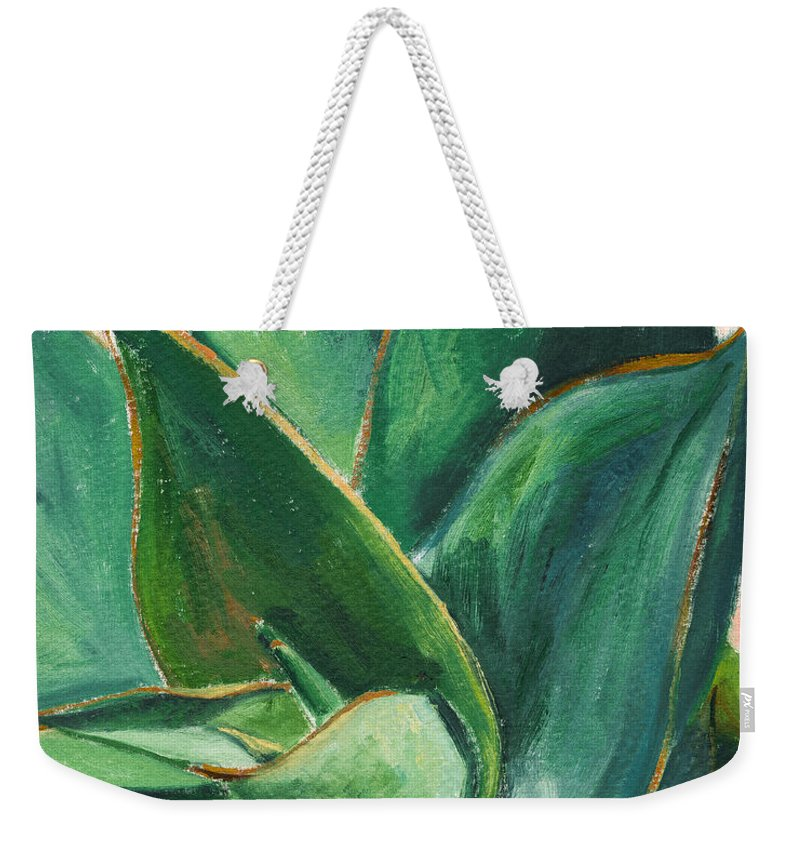 Aloe Weekender Tote Bag featuring the painting Coral Aloe 3 by Athena Mantle